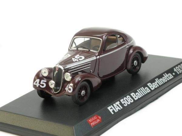Fiat 508 BALILLA BERLINETTA №45 (Mille Miglia) [1936г., Темно-коричневый, 1:43]