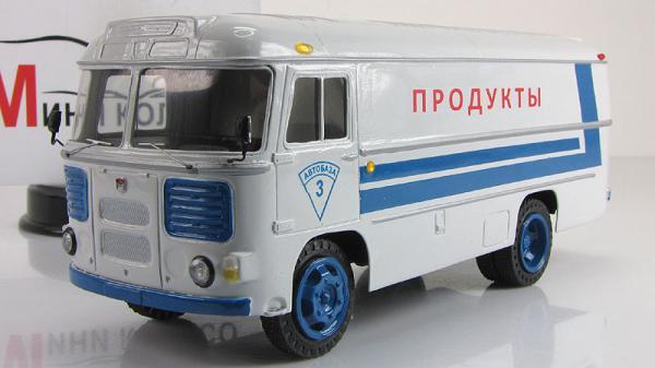 """ПАЗ-3742 рефрижератор """"Продукты"""" (Советский автобус) [1977г., Сине-Белый, 1:43]"""