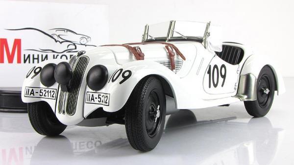 BMW 328 ROADSTER MILLE MIGLIA 1938 #109 (Autoart) [1938г., Белый, 1:18]