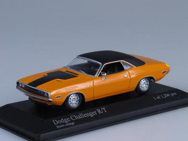 Dodge Challenger R/T (Minichamps) [1970г., Оранжевый с черным, 1:43]