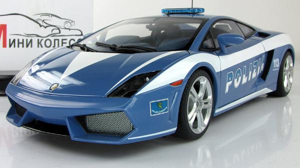 LAMBORGHINI GALLARDO LP560-4 POLICE CAR (Autoart) [2009г., Голубой/белый, 1:18]