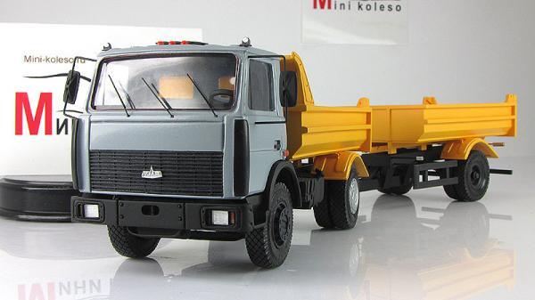 МАЗ-5551 самосвал/прицеп-самосвал (BY.VOLK) [2003г., Серый/желтый, 1:43]