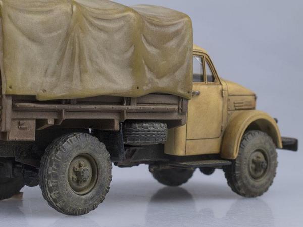ГАЗ-63, бортовой с тентом, гражданский, со следами эксплуатации (СарЛаб) [1947г., Песочный, 1:43]