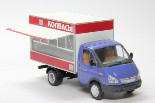 """Газ-3302 Автолавка """"колбаса"""" (Nik-models) [1994г., Белый, синий, 1:43]"""