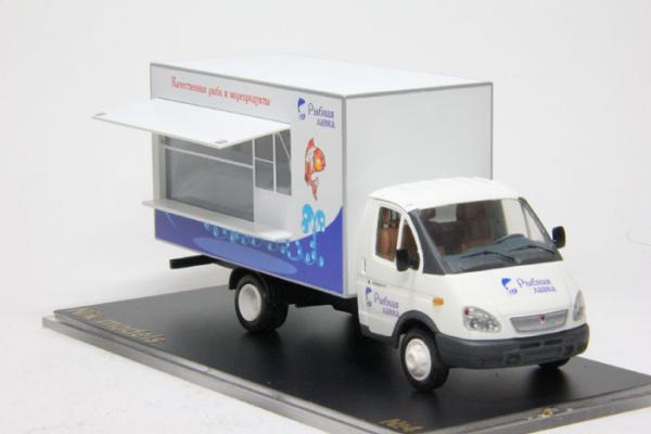 """Газ-3302 """"Рыбная лавка"""" (Nik-models) [1994г., Белый, 1:43]"""