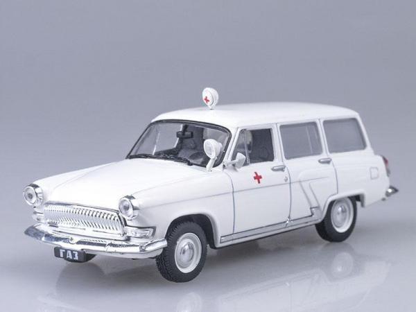 """Газ-22Б """"Волга"""" Скорая медицинская помощь (DeAgostini (Автомобиль на службе)) [1962г., Белый, 1:43]"""