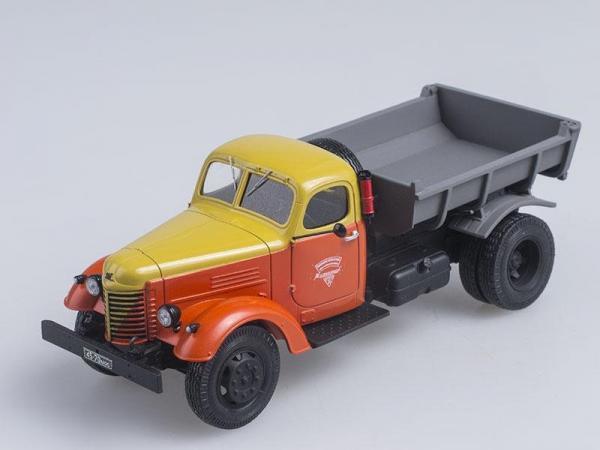 ЗИС-ММЗ-585 самосвал на шасси ЗИС-150, 2-х цветный (СарЛаб) [1950г., Оранжевый с желтым, 1:43]