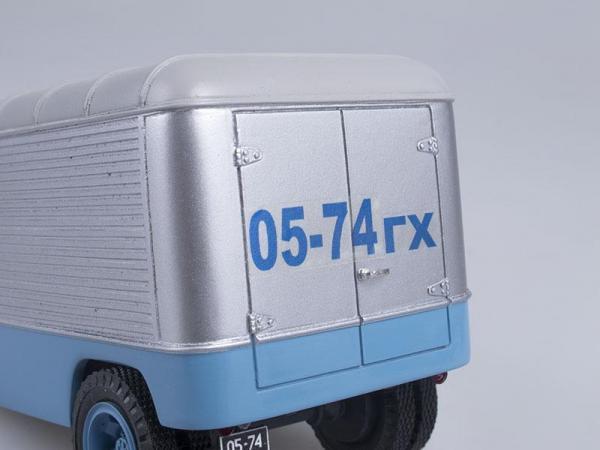 Автопоезд: ГАЗ-51П с полуприцепом ПАЗ-744 (СарЛаб) [1956г., Голубой, белый и серебристый, 1:43]