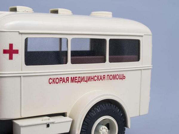 ПАЗ-653 (ГАЗ-51А), санитарный (СарЛаб) [1947г., Бежевый, 1:43]