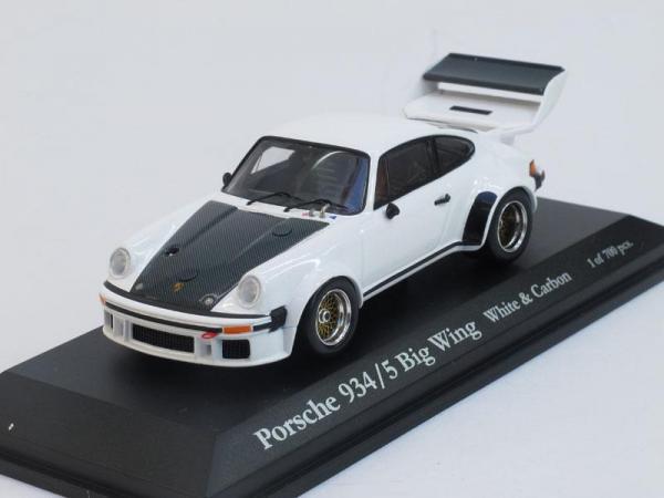 Porsche 934/5 Big Wing (Kyosho) [1977г., Белый, карбон, 1:43]