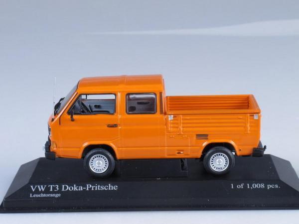 Volkswagen T3 DOKA-PRITSCHE (Minichamps) [1983г., Оранжевый, 1:43]