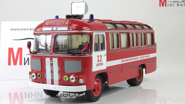 ПАЗ-672М пожарный штабной (Советский автобус) [1982г., Красный, 1:43]