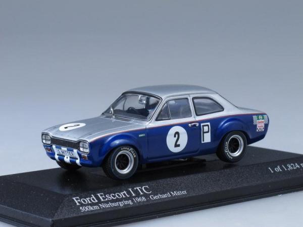 Ford Escort I TC Gerhard Mitter (Minichamps) [1968г., Серебристый и синий, 1:43]