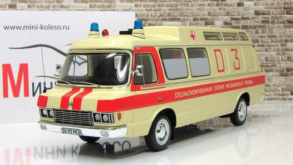 """ЗИЛ-118КА """"Скорая Помощь"""" (DiP Models) [1977г., Бежевый с красными полосами, 1:43]"""