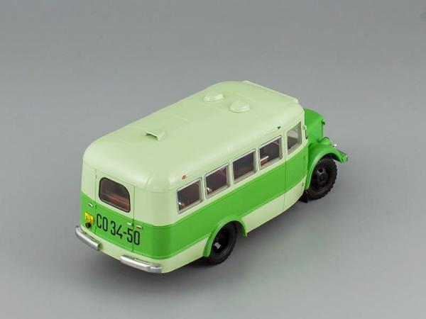 """ПАЗ-651А """"Вокзал - Старая Мацеста"""" 1956 г. (DiP Models) [1956г., Темно-зеленый и светло-зеленый, 1:43]"""