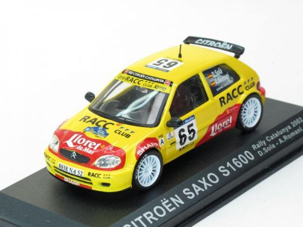 Citroen Saxo SUPER 1600 #65 D. Sola (DeAgostini Rally Car Collection (by IXO)) [1996г., Желтый, 1:43]
