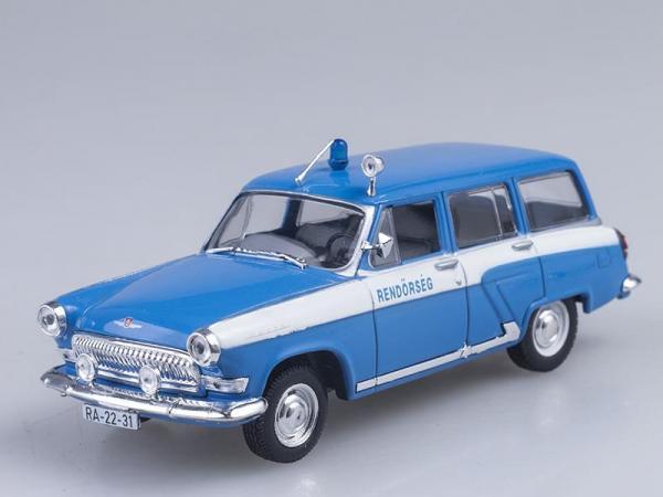 """ГАЗ-22 """"Волга"""", Полиция Венгрии (DeAgostini (Полицейские машины мира)) [1962г., Голубой с белым, 1:43]"""
