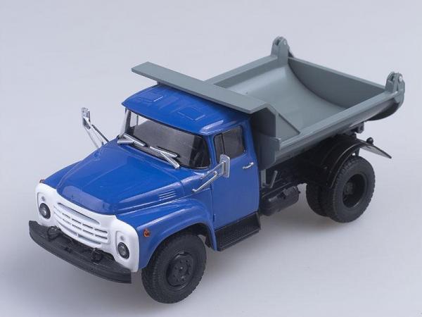 ЗИЛ-ММЗ-555, самосвал (Автоистория (АИСТ)) [1974г., Синяя кабина с серым кузовом, 1:43]