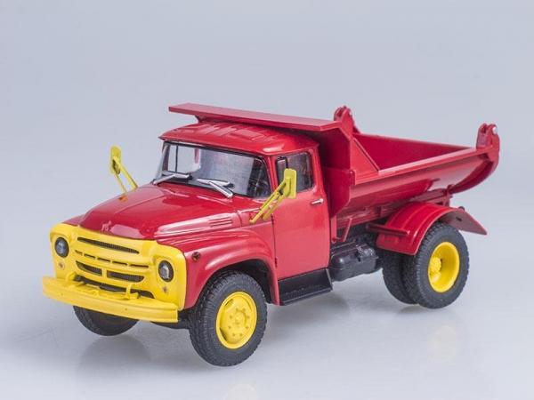 ЗИЛ-ММЗ-555 самосвал (ранняя облицовка радиатора), Автоэкспорт (Автоистория (АИСТ)) [1974г., Красный с желтым, 1:43]