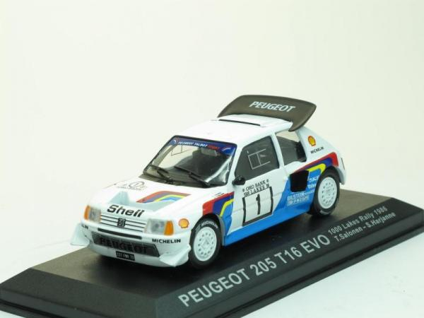 Peugeot 205 T16 EVO Turbo 1986 #1, 1000 Lakes Rally (DeAgostini Rally Car Collection (by IXO)) [1983г., Белый с голубым, 1:43]