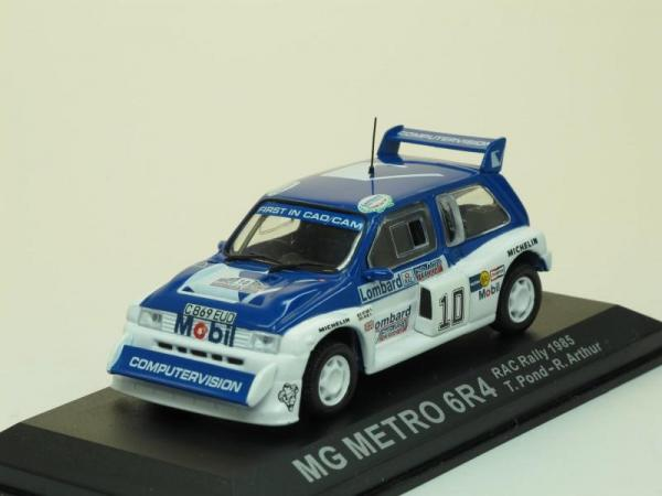 MG Metro 6R4, 1985, #10 T.Pond (DeAgostini Rally Car Collection (by IXO)) [1982г., Белый с синим, 1:43]