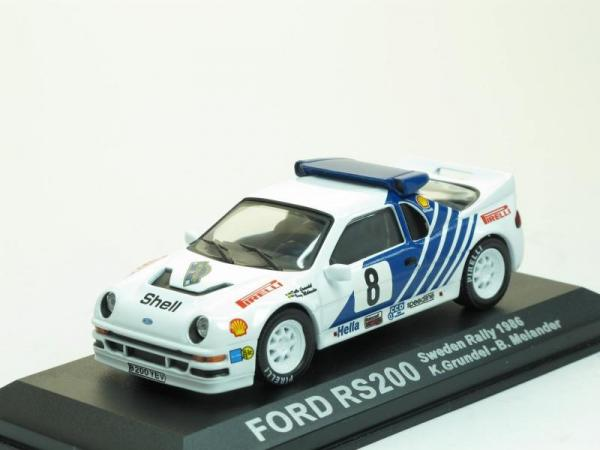 Ford RS200 RALLYE 1986 #8 K. Grundel (DeAgostini Rally Car Collection (by IXO)) [1983г., Белый с синим, 1:43]