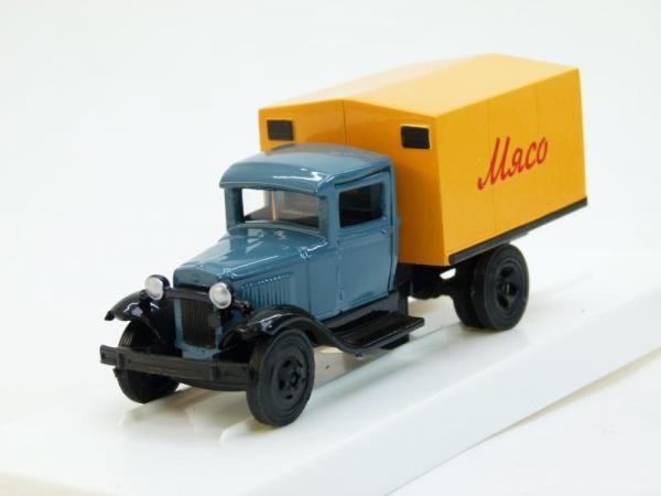 "ГАЗ-АА Фургон ""Мясо"" (ЛОМО-АВМ) [1932г., Серо-голубой и желтый, 1:43]"