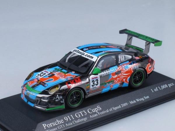 Porsche 911 (997) GT3 CupS Winner GT3 Asia Challenge Mok (Minichamps) [2009г., Черный, голубой и зеленый, 1:43]
