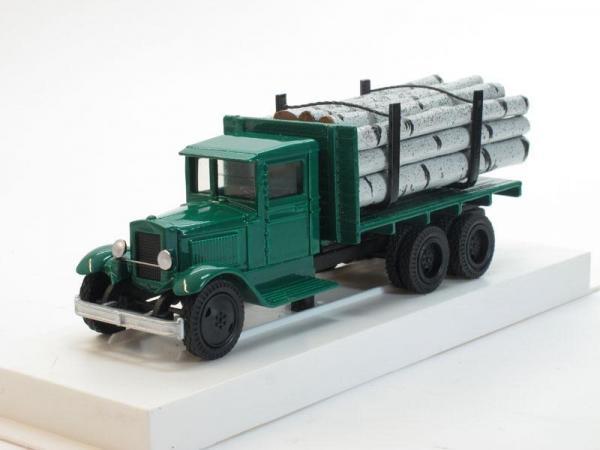 ЗИС-5 (6х2) Грузовик для перевозки леса (береза) с третьей подкатной осью (ЛОМО-АВМ) [1933г., Зеленый, 1:43]