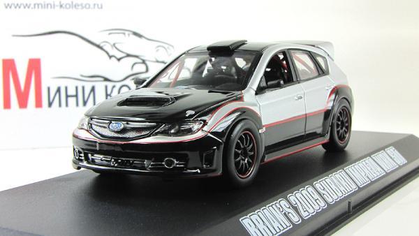 """Subaru Impreza WRX STI из кинофильма """"Форсаж 4"""" (Greenlight) [2009г., Серебристый и черный, 1:43]"""