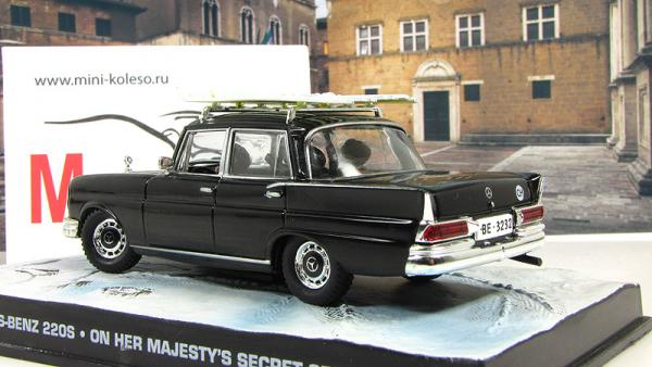 MERCEDES-BENZ 220 S W111 On her majestys secret service 1960 Black (Atlas/IXO) [1969г., Черный, 1:43]