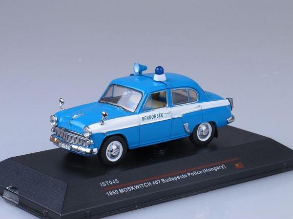 Москвич-407, Полиция Будапешта (IST Models) [1959г., Голубой с белой полосой, 1:43]
