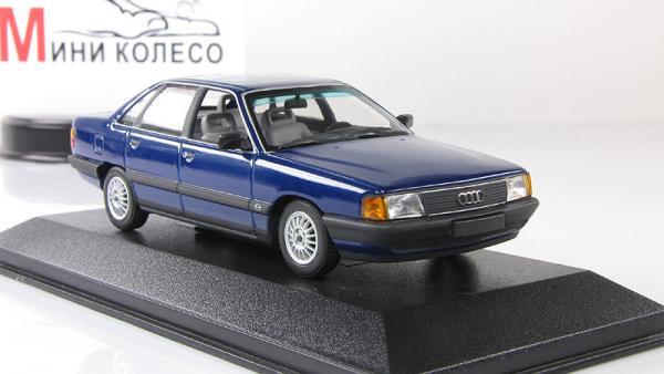 Audi 100 (Minichamps) [1982г., Темно-синий металлик, 1:43]