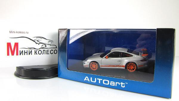 PORSCHE 997 GT3 RS (Autoart) [2009г., Серебристый/оранжевый, 1:43]