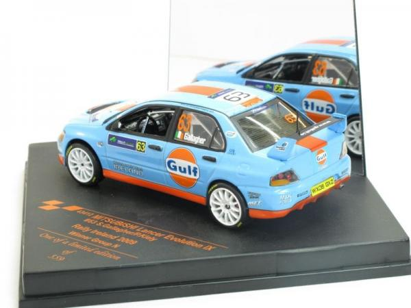 Mitsubishi Lancer Evo IX, No.63, Gulf, Winner Rally Irland 2009 S.Gallagher P.Kiely (Vitesse) [2005г., Голубой с оранжевой полосой, 1:43]