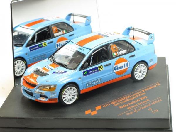 Mitsubishi Lancer Evo IX, No.63, Gulf, Winner Rally Irland 2009 S.Gallagher P.Kiely (Vitesse) [2005г., Голубой с оранжевой полосой, 1:43]