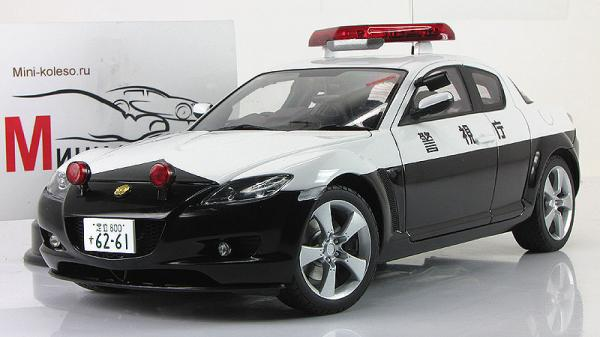 MAZDA RX-8 POLICE CAR - LIMITED EDITION OF 6,000 PCS (Autoart) [2003г., черный/белый, 1:18]