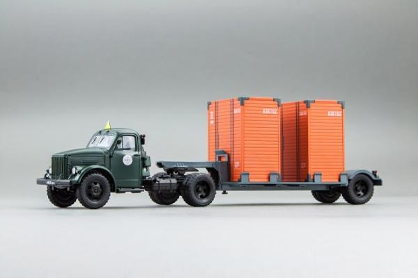 ГАЗ-51П + Т-213 полуприцеп (DiP Models) [1956г., Зеленый и серый, 1:43]