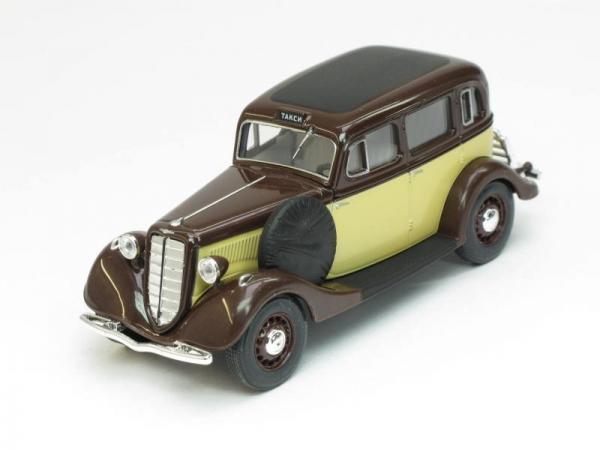 ГАЗ-М1 такси (Наш Автопром) [1936г., Бежево-бордовый, 1:43]