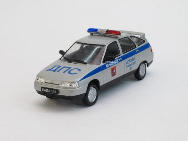 ВАЗ-2112 ДПС г.Москва (DeAgostini (Автомобиль на службе)) [1999г., Серебристый металлик, 1:43]