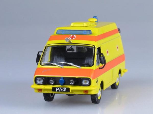 РАФ-ТАМПО реанимация (DeAgostini (Автомобиль на службе)) [1986г., Желтый с оранжевой полосой, 1:43]