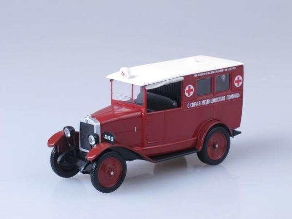 АМО-Ф-15 Скорая медицинская помощь (DeAgostini (Автомобиль на службе)) [1924г., Темно-красный, 1:43]