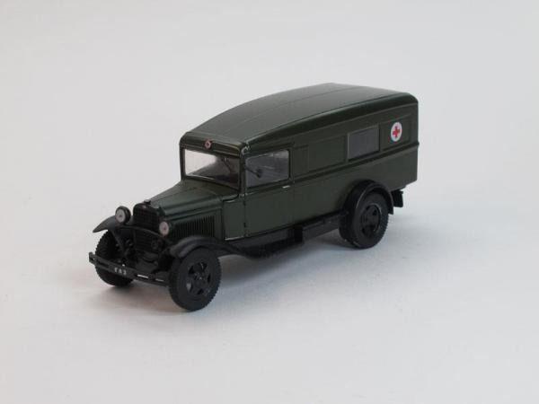 ГАЗ-55 Скорая медицинская помощь (DeAgostini (Автомобиль на службе)) [1936г., Темно-зеленый, 1:43]