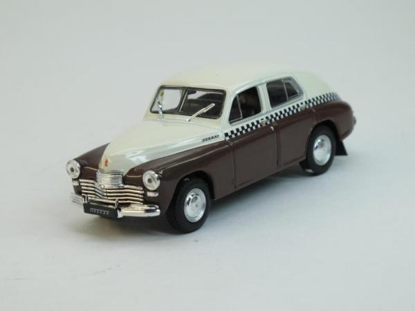 """ГАЗ-М20 """"Победа"""" Такси (DeAgostini (Автомобиль на службе)) [1946г., Белый с коричневым, 1:43]"""