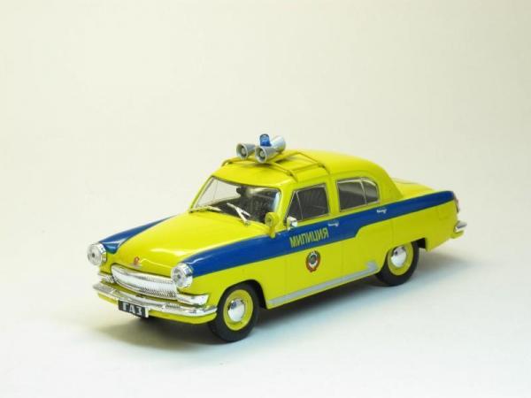 ГАЗ-21С Милиция (DeAgostini (Автомобиль на службе)) [1958г., Лимонный с синей полосой, 1:43]