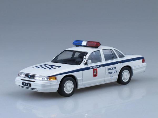 Ford Crown Victoria, ДПС Москвы (DeAgostini (Автомобиль на службе)) [1992г., Белый с синими полосами, 1:43]