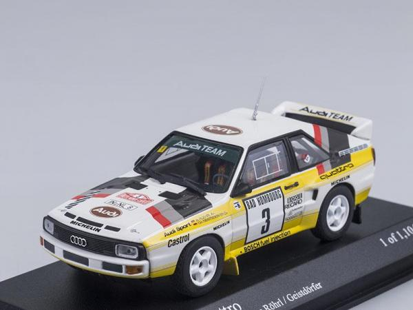 Audi Sport Quattro Rally Monte Carlo, 1985 (Minichamps) [1984г., Белый с желтым, 1:43]