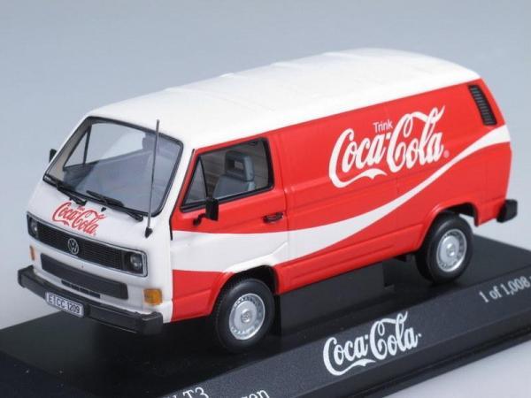 Volkswagen T3 Transporter «Coca Cola» (Minichamps) [1983г., Красный с белым, 1:43]