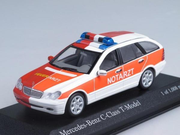 Mercedes-Benz C-Class Kombi Notarzt + Feuerwehr (NEF) (Minichamps) [2001г., Белый, оранжевый и красный, 1:43]