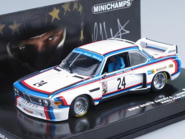 BMW 3,5 CSL IMSA No.24, Sebring Stuck/Posey 1975 (Minichamps) [1975г., Белый с полосами, 1:43]